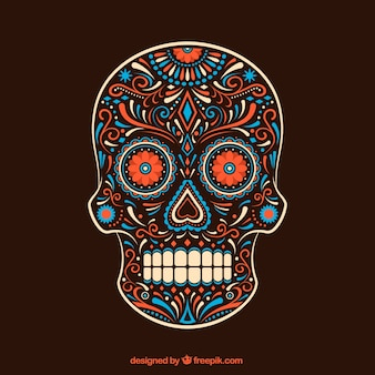 Ornamental colorful sugar skull