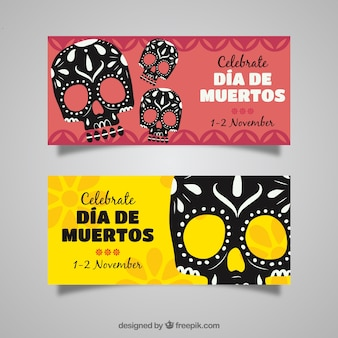 Ornamental day of the dead banners