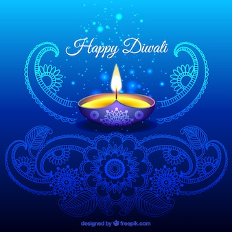 Ornamental Diwali background in blue color