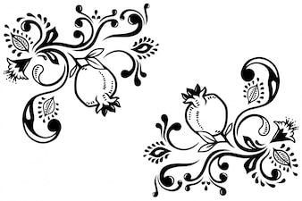 Ornamental elements with pomegranate design