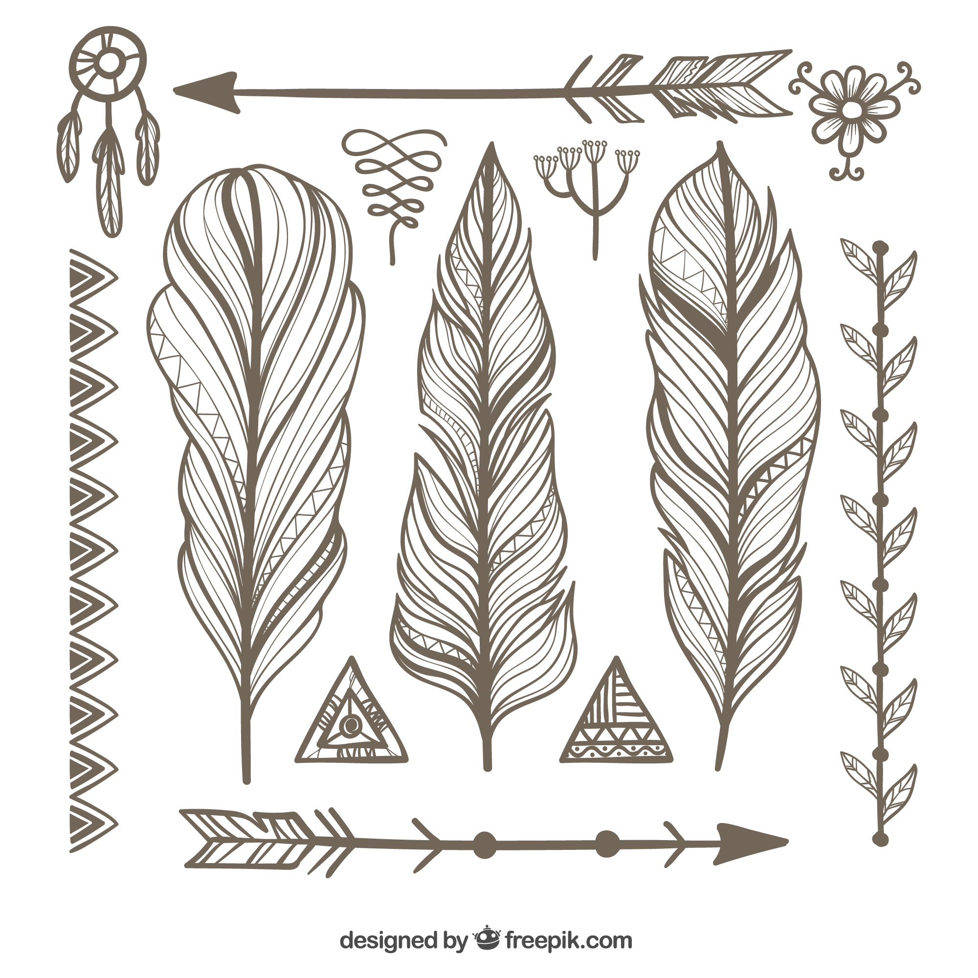 Ornamental feathers with other ethnic objects