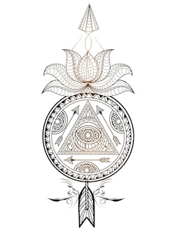 Ornamental floral Dream Catcher with lotus flower and arrow. Creative hand drawn ethnic decorative element.