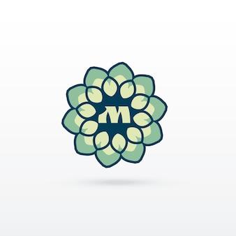美しい花や曼荼羅スタイルのロゴデザイン