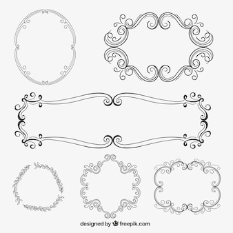 Ornamental frames in hand drawn style