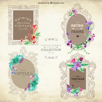 Ornamental frames with flowers set