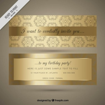 Ornamental golden birthday invitation