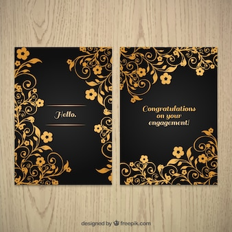 Ornamental golden floral greeting card