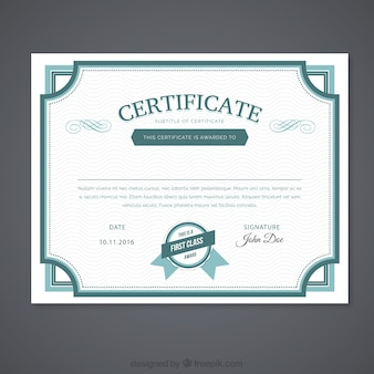 Ornamental green certificate