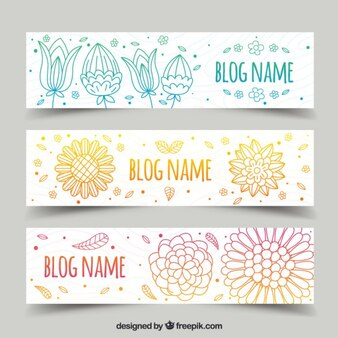 Ornamental hand drawn floral blog headers