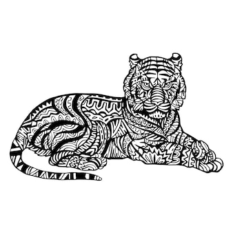 Ornamental hand drawn tiger