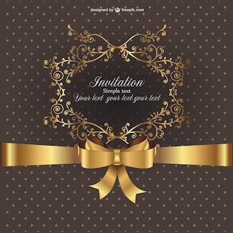 Ornamental invitation with golden ribbon