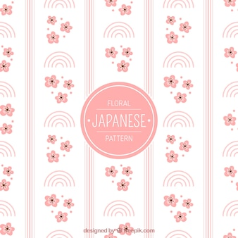 Ornamental japanese pattern with flowers and abstract shapes