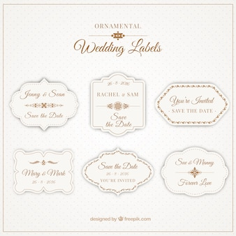 Ornamental labels for weddings