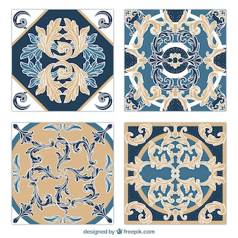 Ornamental leaves tiles set