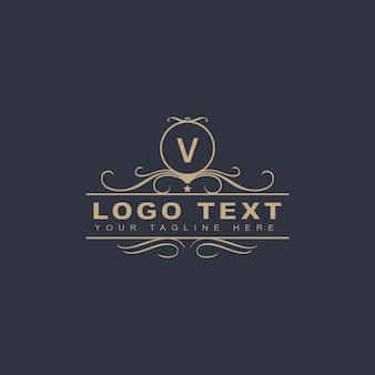 Ornamental luxury letter v logo