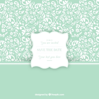 Ornamental pattern with wedding invitation label
