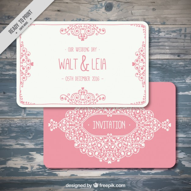 Ornamental pink wedding invitation