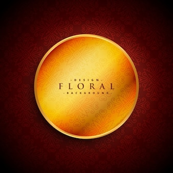 Ornamental red background with a golden circle