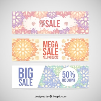 Ornamental sale banners in pastel tones