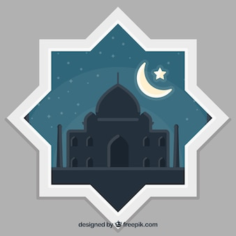 Ornamental shape with mosque background