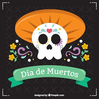 Ornamental skull background with mexican hat