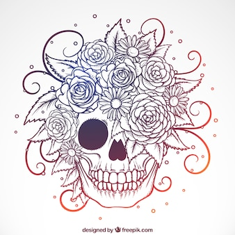 Ornamental skull with hand-drawn flowers
