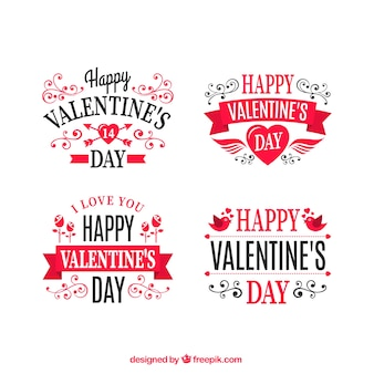 Ornamental valentines day labels pack