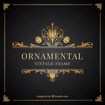 Ornamental vintage golden frame