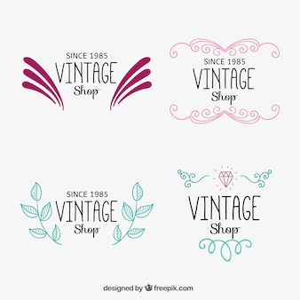Ornamental vintage shop logos