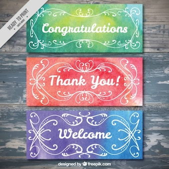 Ornamental watercolor greeting banners