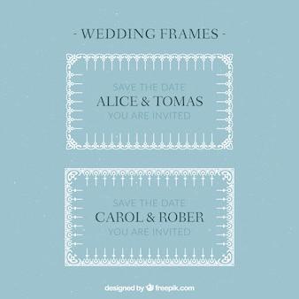 Ornamental wedding frames in white color