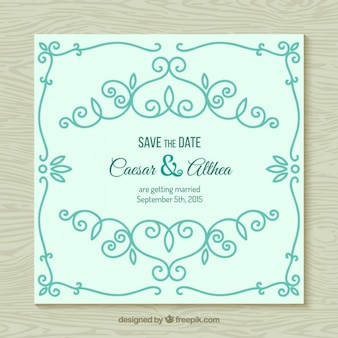 Ornamental wedding invitation in mint color