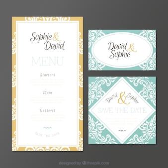 Ornamental wedding invitations in vintage style
