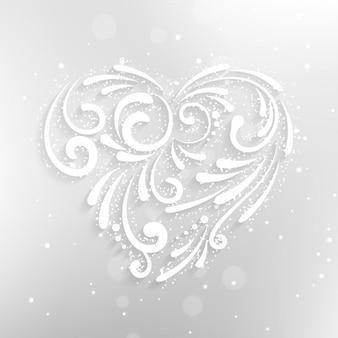 Ornamental white heart background