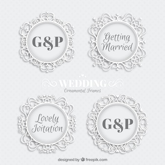 Ornamental white wedding badges