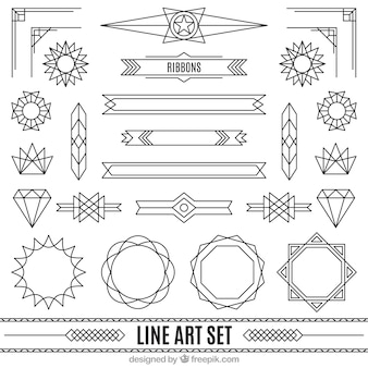 Ornaments in art deco style set