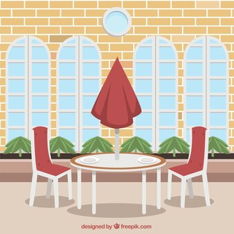 Outdoor table for two, restaurant scene