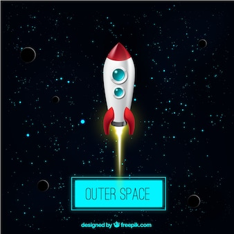Outer space and a rocket