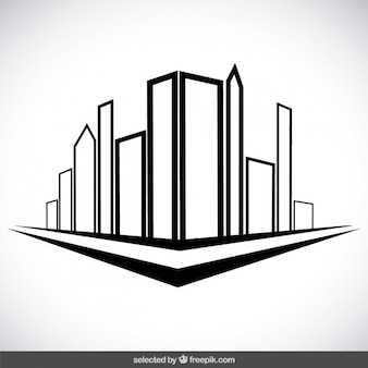 outlined city buildings