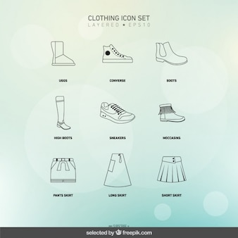 Outlined clothing icons set