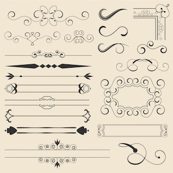 Outlined decorative ornaments