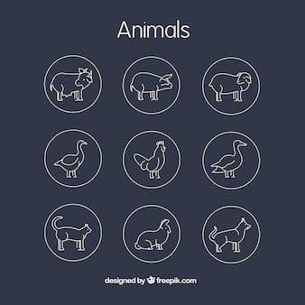 Outlined farm animals