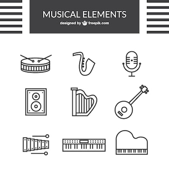 Outlined music icons