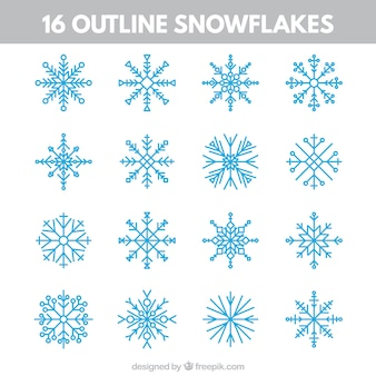 Outlined snowflakes