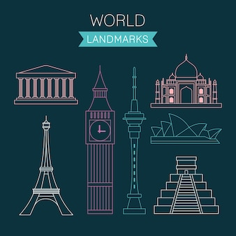 Outlined world landmarks