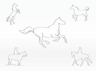 outlines of horses