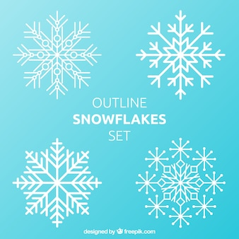 Outlines snowflakes set