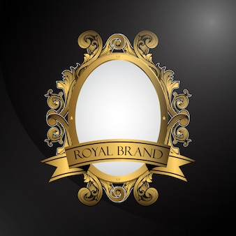 Oval ornamental frame on black background