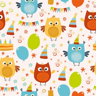 Owl party pattern