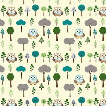 森のシームレスなパターンでフクロウ
